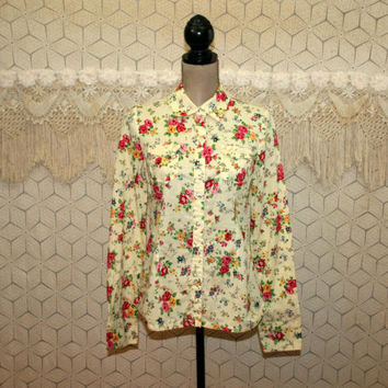 Yellow Floral Blouse Womens Shirt Snaps Long Sleeve Cotton Top Western Hippie Boho Pink Roses Print Small Womens Clothing
