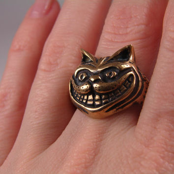 Cheshire Cat Ring, Alice in Wonderland Jewelry, Cheshire Cat Jewelry, Cat Jewelry, Kitty Ring Jewelry, Animal Cute Open Ring