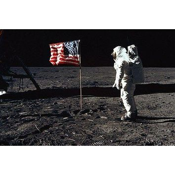 moon astronaut USA flag NASA POSTER 24X36 60's & 70's space program RARE
