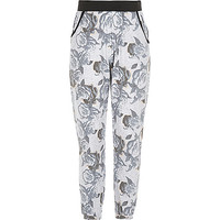River Island Girls pink rose print joggers