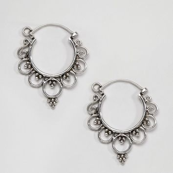 Kingsley Ryan Sterling Silver Ornate Hoop Earrings at asos.com