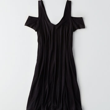 AEO Soft & Sexy Cold Shoulder Double-V Dress, True Black
