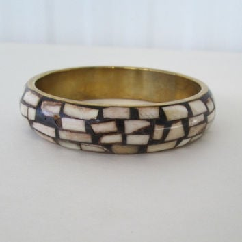 Mosaic Inlaid Bone Bangle Bracelet Black Brown Brass Vintage Jewelry