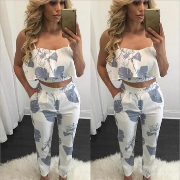 Elegant Two Piece Rompers Womens Jumpsuit floral print ladies Jumpsuits Overalls for women Night Club Wear combinaison femme