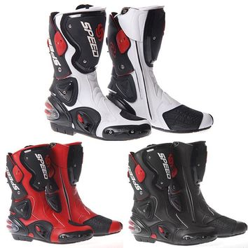Motorcycle Motorbike Racing Sport Leather Boots Protection Biker Shoes Armoured Leather Waterproof Black Blue Red Race Boots