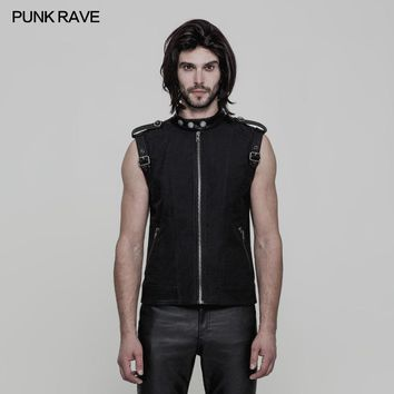 New Black sleeveless vest T-shirt Top with straps on shoulders PU Leather gothic Punk Rave oy858