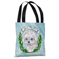 Maltese - Blue Multi Tote Bag by Timree Gold