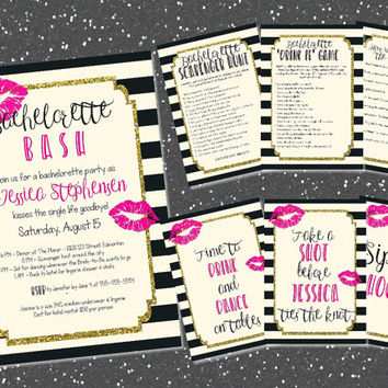 Printable bachelorette games, signs and invitation bundle / bachelorette party games / bachelorette party kit / bachelorette bundle