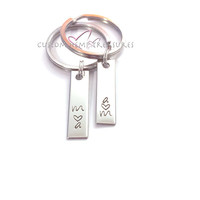 Couples Keychains Initials Heart hand stamped