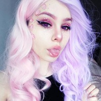 Half Pink and Half Lavender Color Wavy Synthetic Lace Front Wig-SNY075 - Home - DonaLoveHair