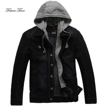 Men Hoodies Autumn England Style Plus Size Denim Jacket Fashion Solid Hoodie Male Casual Hooded Coat Cowboy Jacket WY082