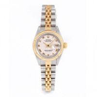 Rolex Ladies 26mm Stainless Steel & 18k Yellow Gold Datejust Swiss-Automatic Watch - 69173 - Ivory Pyramid Roman Dial - Fluted Bezel - Jubilee Band (Certified Pre-owned)