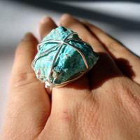 Chrysocolla ring - raw stone ring - silver ring - size 6 1/2 - natural stone ring - wrapped ring - cocktail ring - chunky ring - OOAK ring