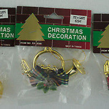 Retro Gold Horn & Holly Christmas Ornaments 3 Pik n Save Originals