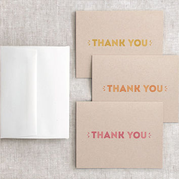 Thank You Card Set of 6 - Autumn Brown Recycled Cards - Thanksgiving Cards - Typography Coral Red, Orange, Yellow