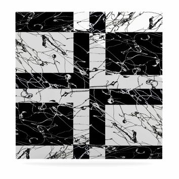 "Nina May ""Ska Splatter"" Black White Mixed Media Luxe Square Panel"