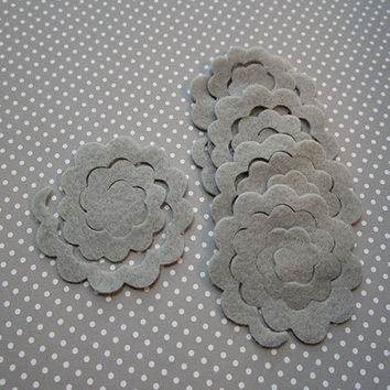 12 gray felt flower rosette, DIY, felt die cut out, felt flower, rose cut out, bouquets, small felt 3D roses, embellishment, handmade