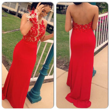 Halter Backless Red Applique Prom Dresses