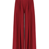 Red Wide Cut Leg Trousers With High-Rise Waist from mobile - US$21.95 -YOINS