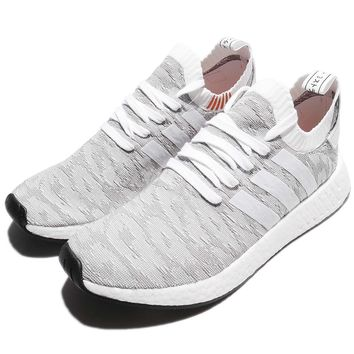 adidas Originals NMD_R2 PK PrimeKnit Grey White Men Running Shoes Sneaker BY9410