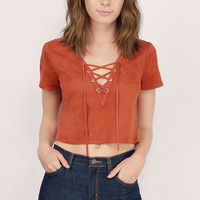 Hillside Sueded Lace Up Crop Top