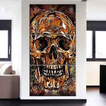 Modern 3 Piece Panel Skull Head Abstract Wall Canvas Print Picture