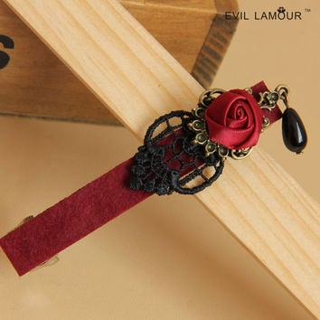 Gothic rose pearl Tiara lace top clamp New Handmade European personality hairclip