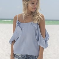 Dreamland Dusty Blue Satin Ruffle Cold Shoulder Top