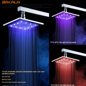Wall Mounted Colour Changing Square Rainfall Shower Head