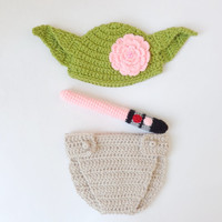 Master Yoda Baby Hat and Diaper Cover From Star Wars With Light Saber For Girl -Newborn Photo Prop / Halloween / Cosplay / Baby Shower Gift