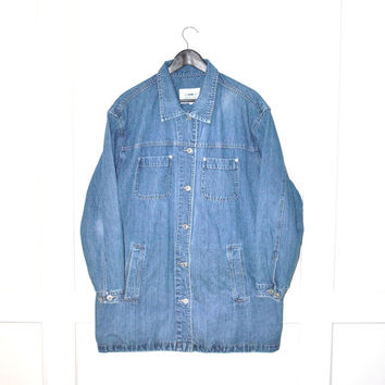 long denim jacket MINIMALIST 90s relaxed fit long vintage jean coat UNISEX open size jacket