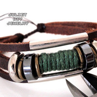 Handmade leather bracelet green hemp cord wraped from Urban Zen Jewelry Boutique