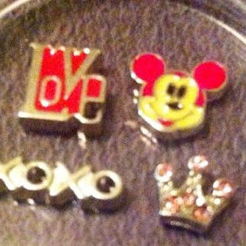 WHOLESALE 4 Pack of Minnie Mouse XOXO Pink Crown and Love Floating Charms for Memory Lockets