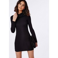 Missguided - Ribbed Roll Neck Long Sleeve Bodycon Dress Black