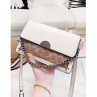 COACH New fashion pattern print leather shoulder bag women