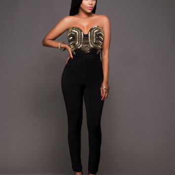 Black Sweetheart Metallic Embellished Jumpsuit