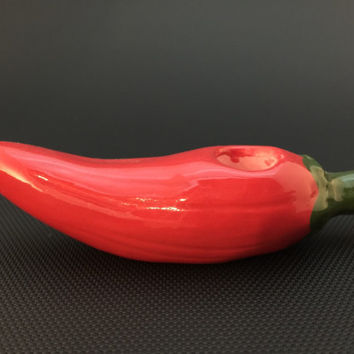 Ceramic Chili Pepper Red Glass Glazed Tobacco Pipe