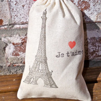 Je T'aime Eiffel Tower French Hand Stamped Cotton Muslin 4x6 Favor Bag - Paris Love