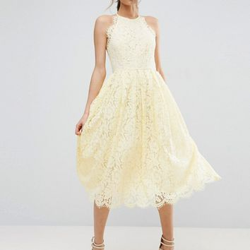 ASOS Lace Pinny Scallop Edge Prom Midi Dress at asos.com