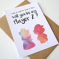 Love Card Mario and Peach Watercolor Will you be My Player 2 ?