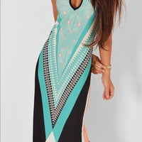 Sleeveless Halter Neck Ethic Print Maxi Dress
