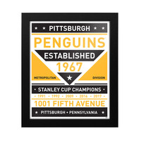 "Pittsburgh Penguins 15"" x 18"" Framed Modern Team Print"