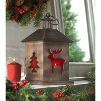 Holiday Cabin Wooden Candle Lantern