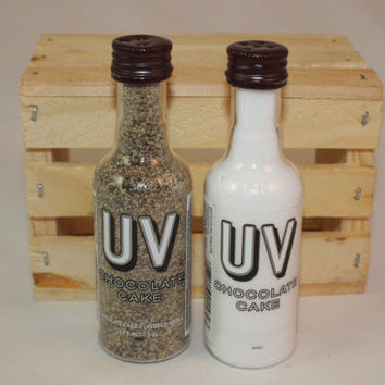 Salt & Pepper Shakers from Upcycled UV Chocolate Cake Mini Liquor Bottles
