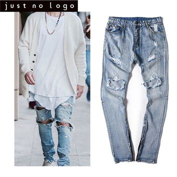 Cheap Men's Ripped Destroyed Blue Denim Jeans Ankle Zipper Straight Slim Fit Distressed Denim Pants Hip Hip Trouser for Men