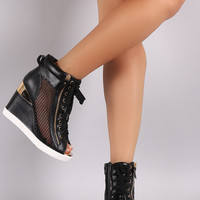 Net Zipper Lace Up High Top Wedge Sneaker