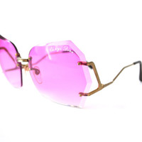 1970s Oversized Sunglasses Chrys Dion Pink Purple Diamond Boho Style