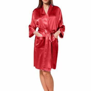 SALE Florencia Love One Size fits most: Up to size 20 Women's Crepe Satin Robe - Best Bridal or Valentine's Day Gift