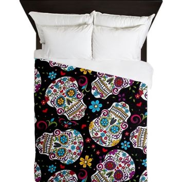 Funky Black Sugar Skulls Queen Duvet