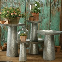 Galvanized Metal Pedestal Stands - 4 Sizes Available